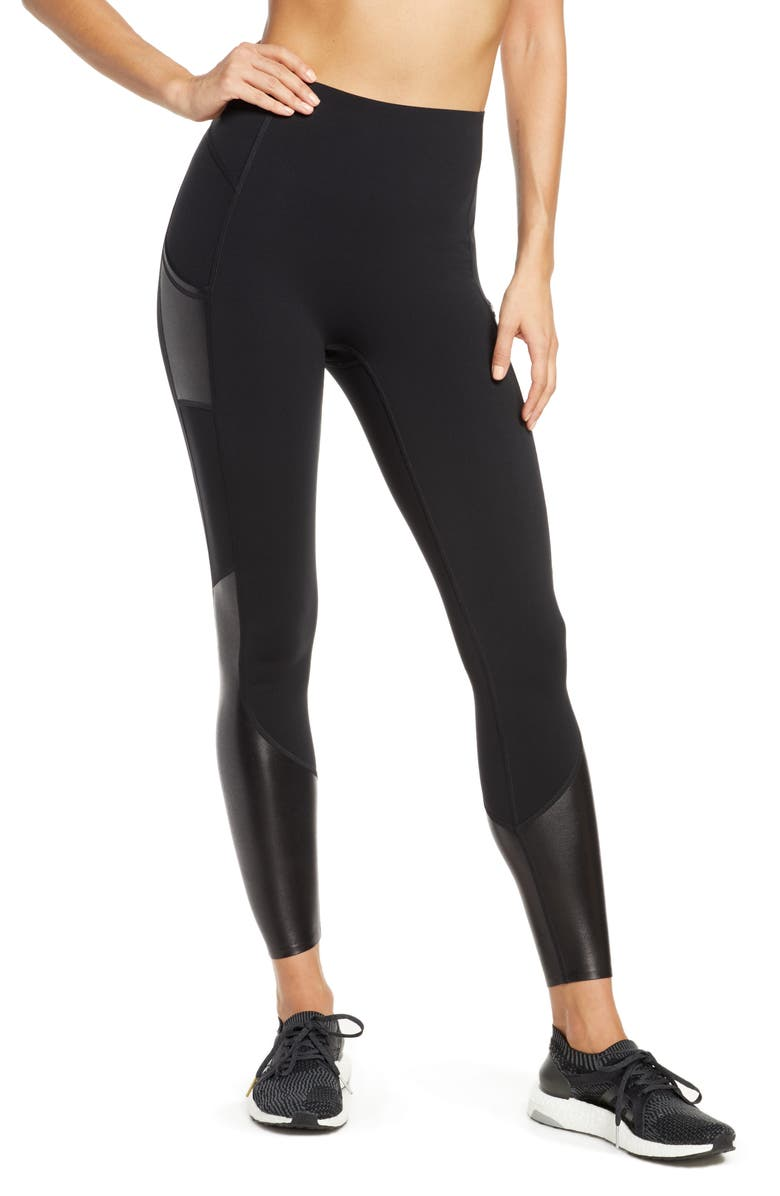 SPANX<SUP>®</SUP> Every.Wear Gloss Panel Pocket Active Leggings, Main, color, 019