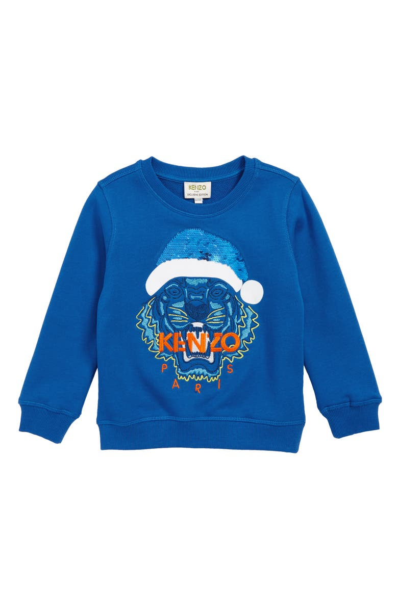 KENZO Santa Tiger Flip Sequin Sweatshirt, Main, color, COBALT BLUE