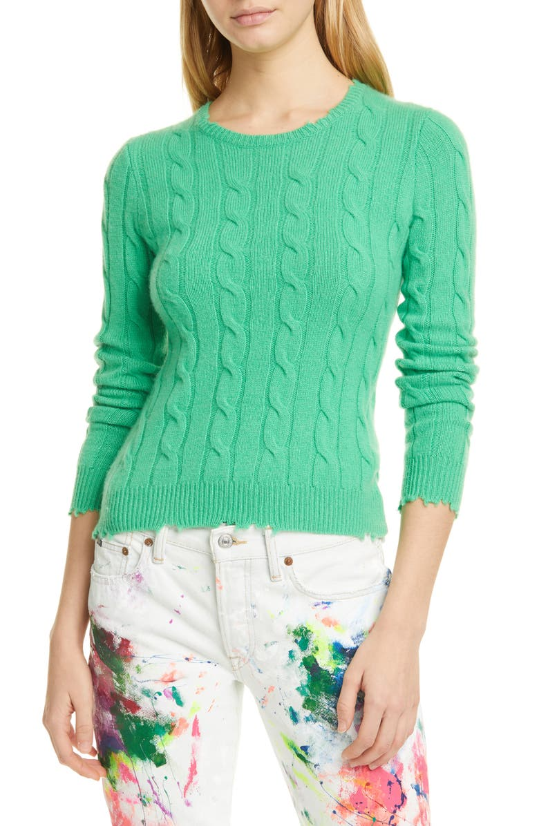 POLO RALPH LAUREN Cable Wool & Cashmere Sweater, Main, color, TILLER GREEN