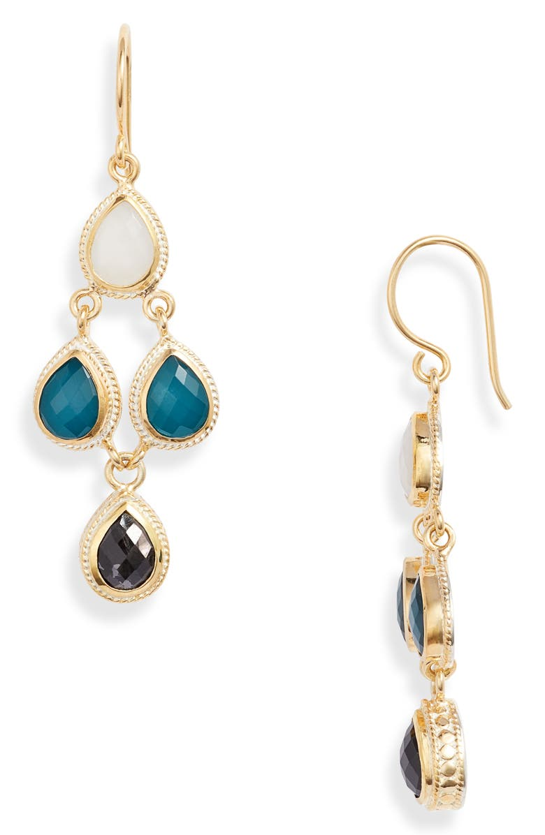 ANNA BECK Stone Chandelier Earrings, Main, color, GOLD/ WHT/ BLUE / BLK