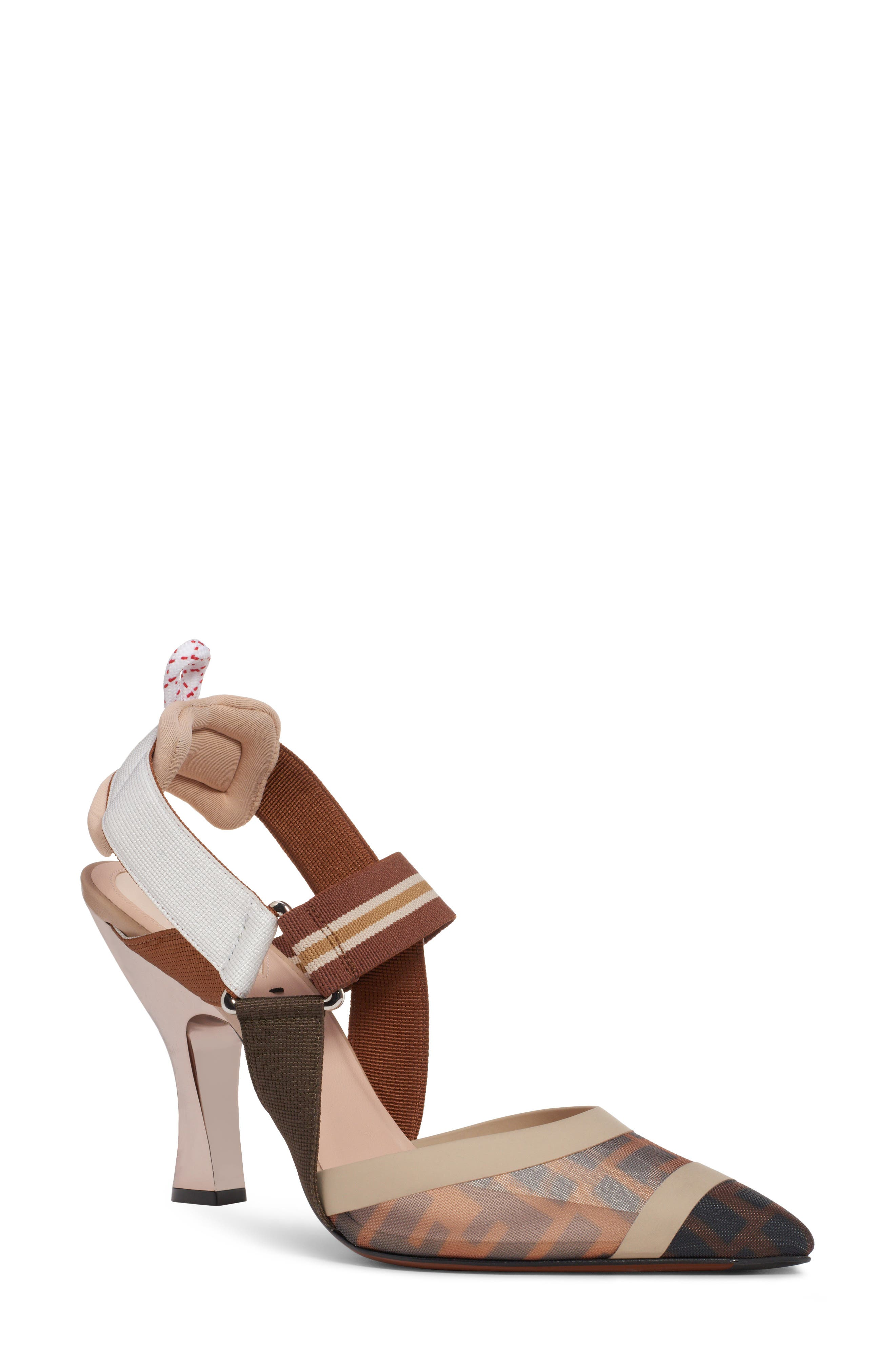 Fendi Colibri Slingback Pump - Brown