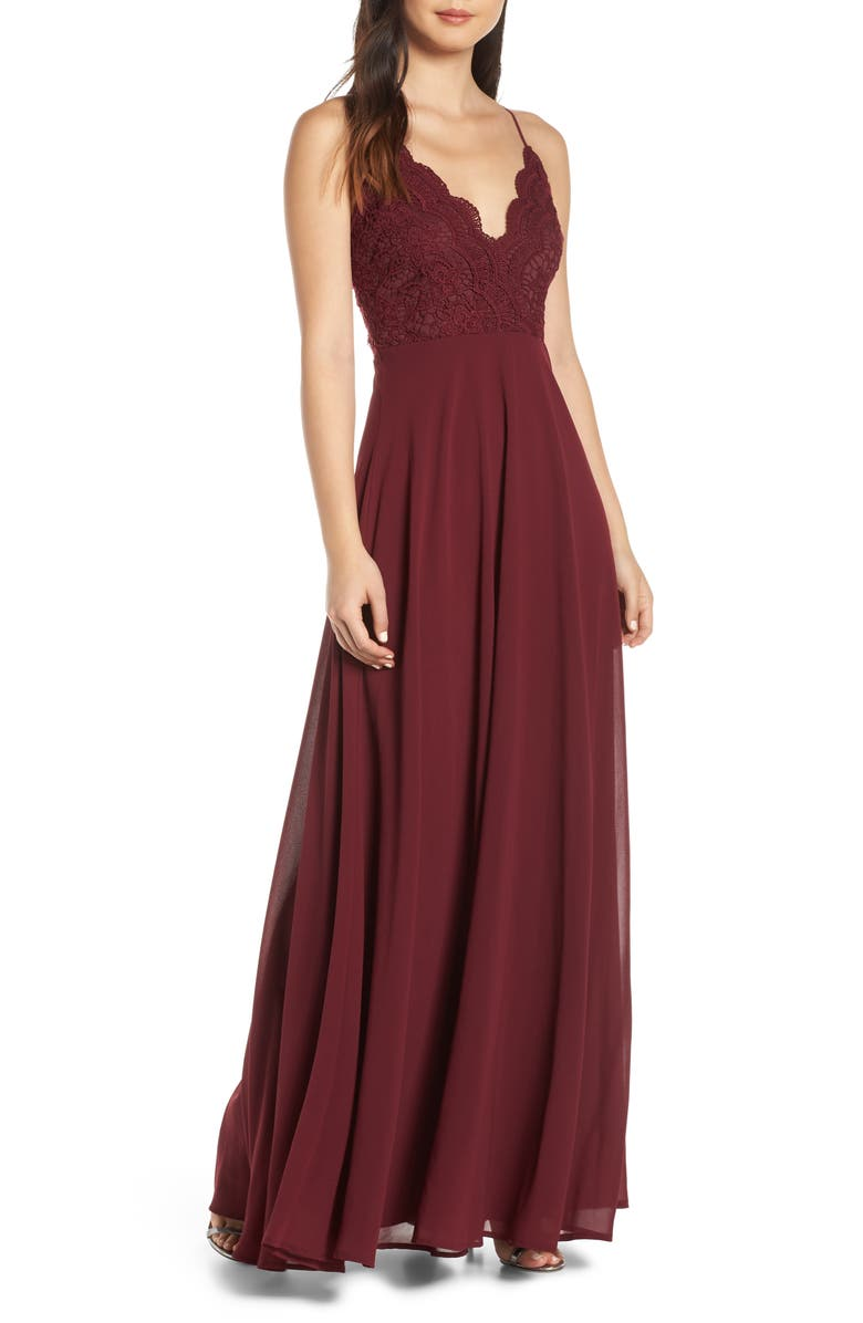 LULUS Madalyn V-Neck Lace & Chiffon Evening Dress, Main, color, BURGUNDY