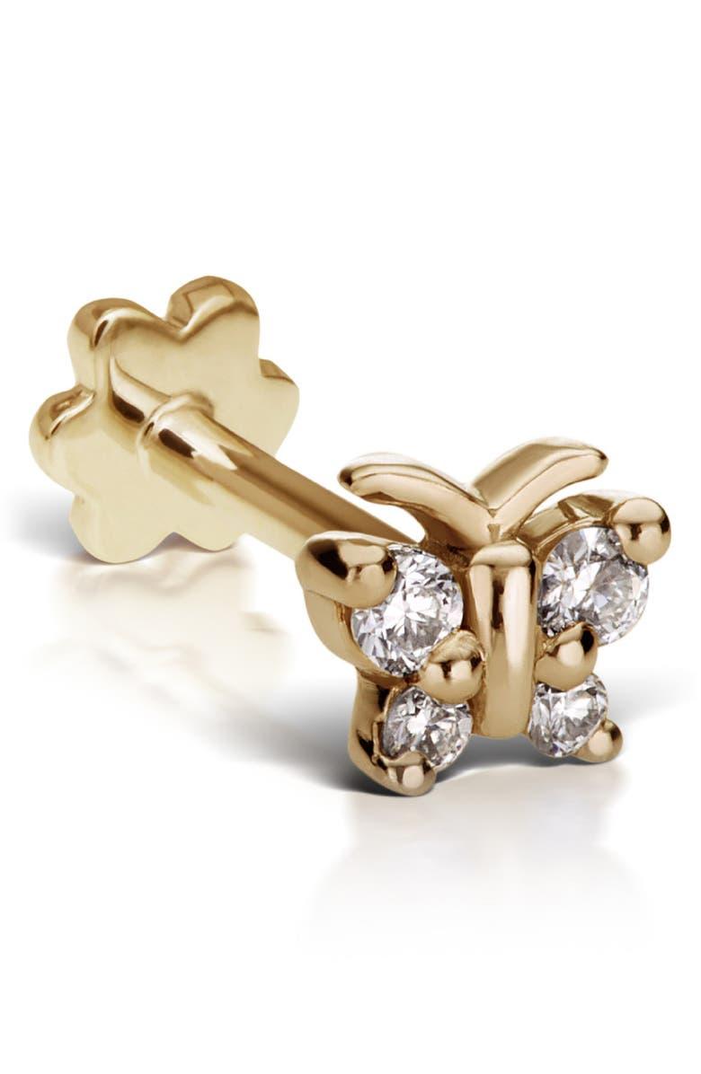 MARIA TASH Diamond Butterfly Threaded Stud Earring, Main, color, YELLOW GOLD/ DIAMOND