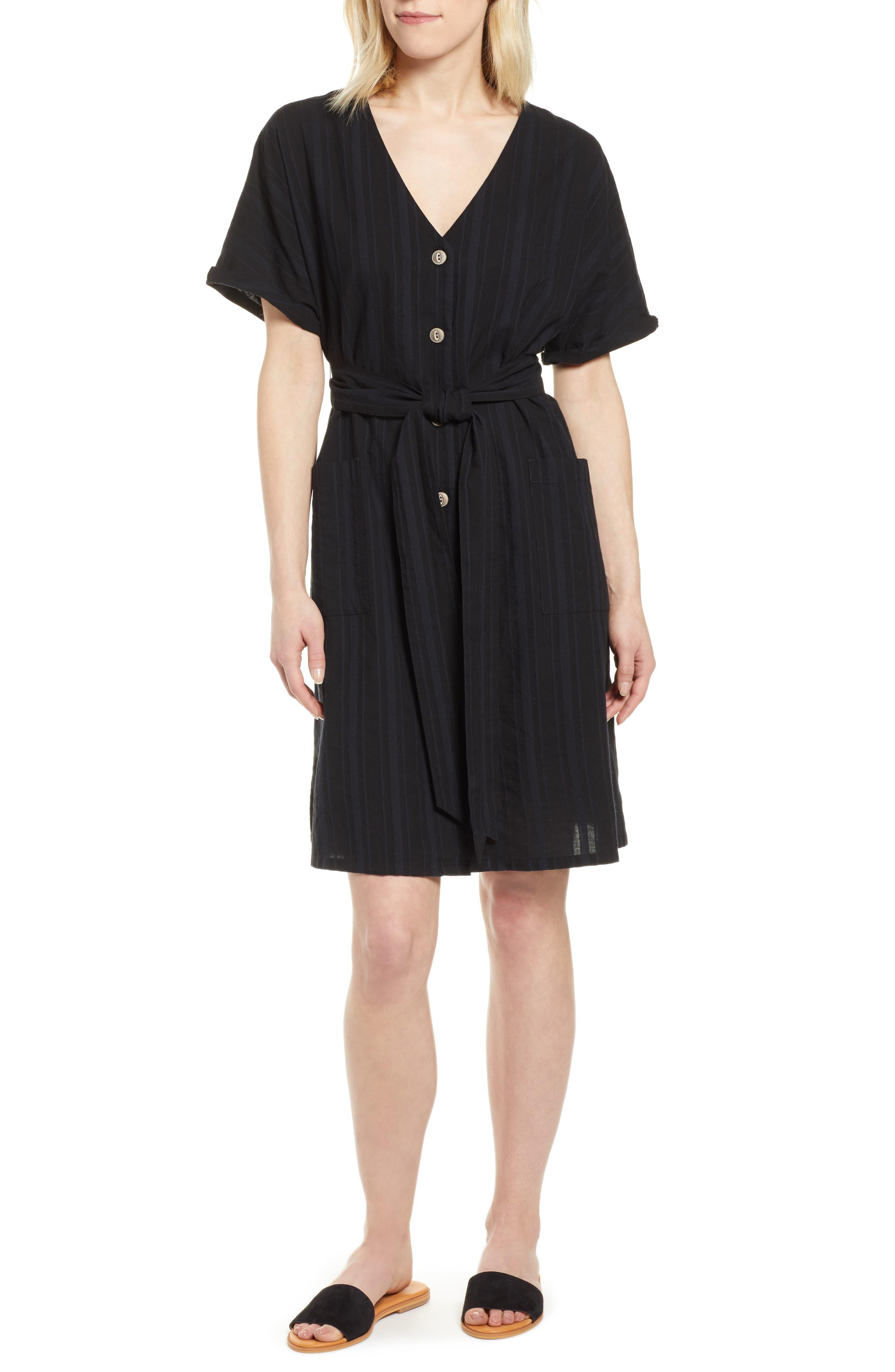 Petite Caslon Button Front Belted Dress, Black