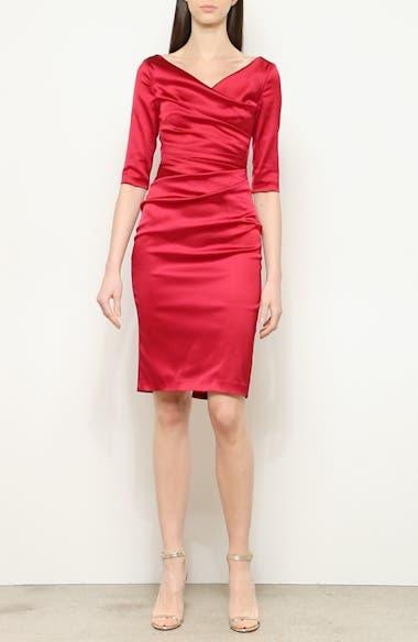 Stretch Duchess Satin Sheath Dress, video thumbnail