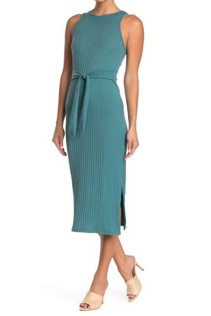Image of GOOD LUCK GEM Ribbed Tie Waist Slit Midi Dress