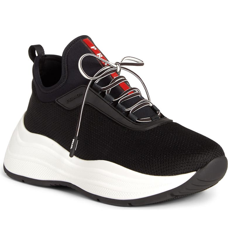 PRADA Platform Lace-Up Sneaker, Main, color, BLACK KNIT