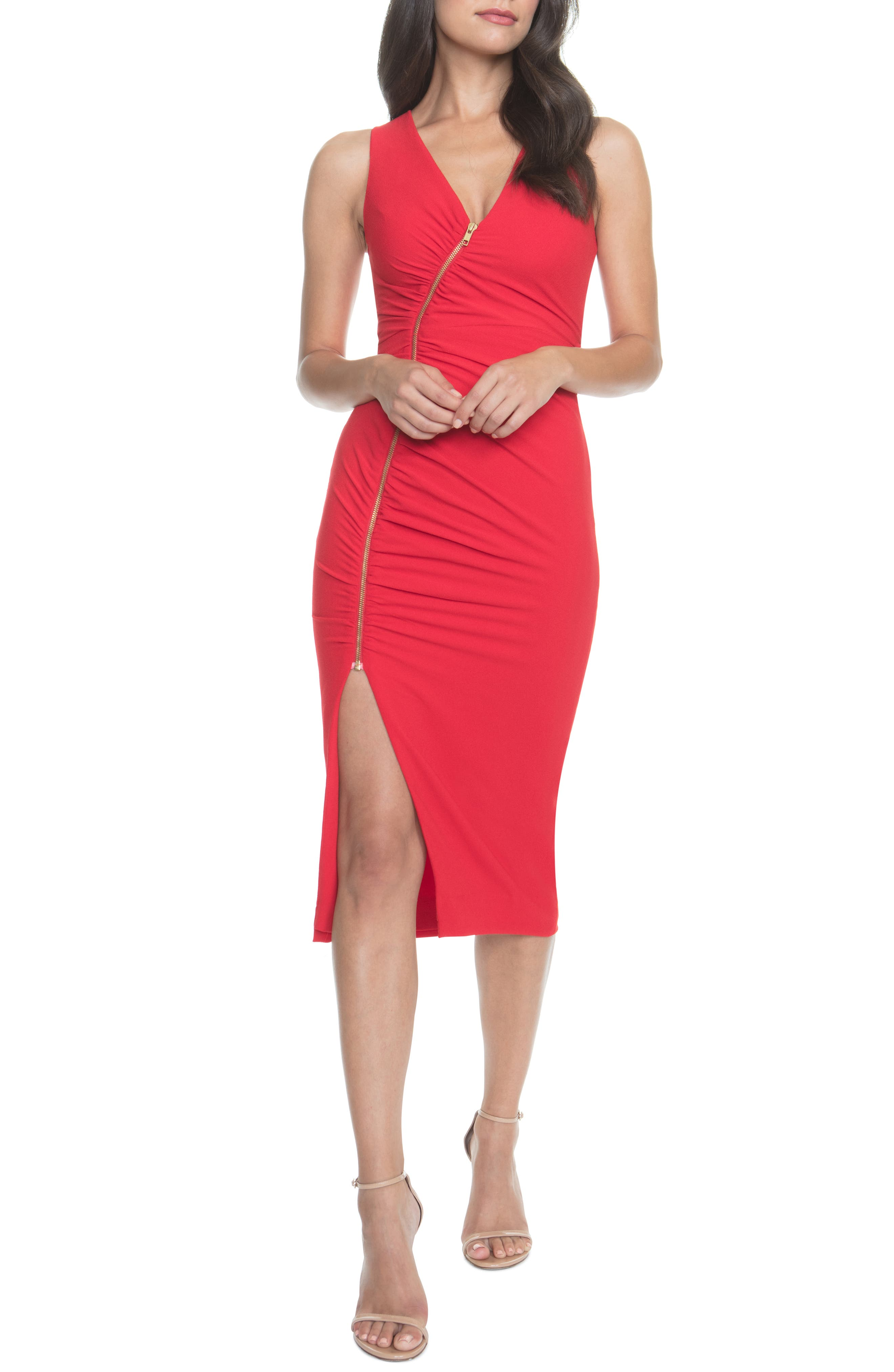 Dress The Population Ivy Ruched Zip Front Sleeveless Body-Con Midi Dress, Red