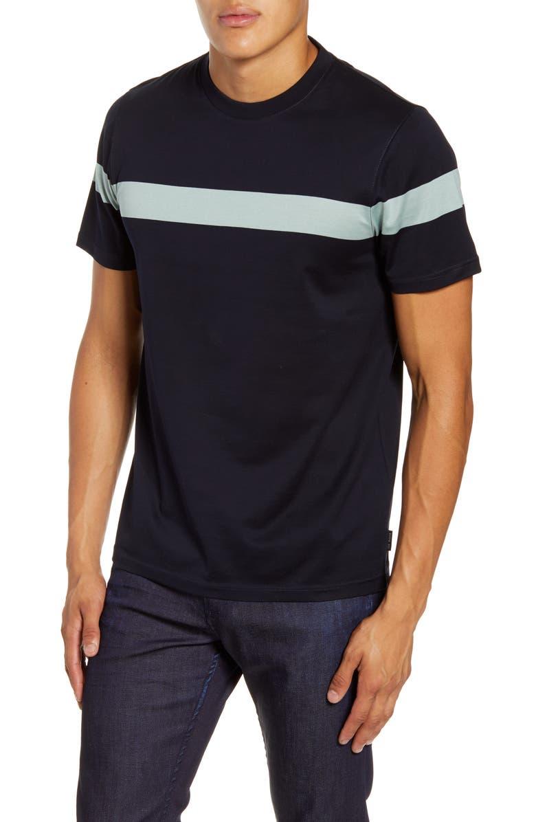 TED BAKER LONDON Relaxa Slim Fit Stripe Crewneck T-Shirt, Main, color, NAVY