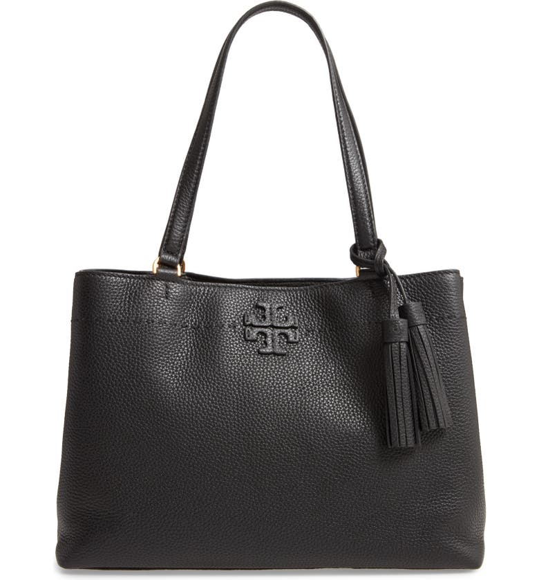 TORY BURCH McGraw Triple Compartment Leather Satchel, Main, color, BLACK
