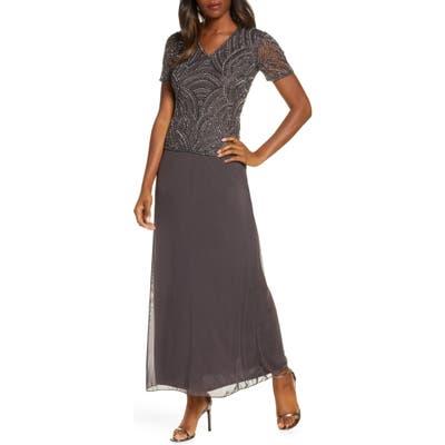 Pisarro Nights Beaded Mock Two-Piece Gown, Grey
