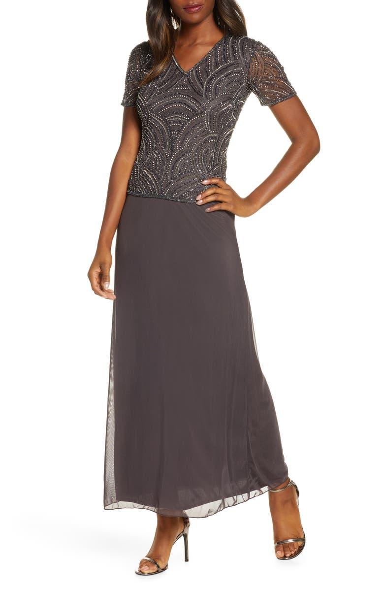 PISARRO NIGHTS Beaded Mock Two-Piece Gown, Main, color, DARK GREY