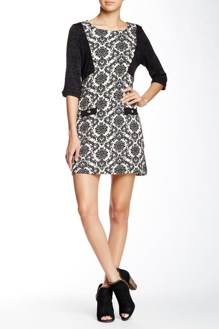 Image of Papillon Elbow Sleeve Printed Sweater Dress