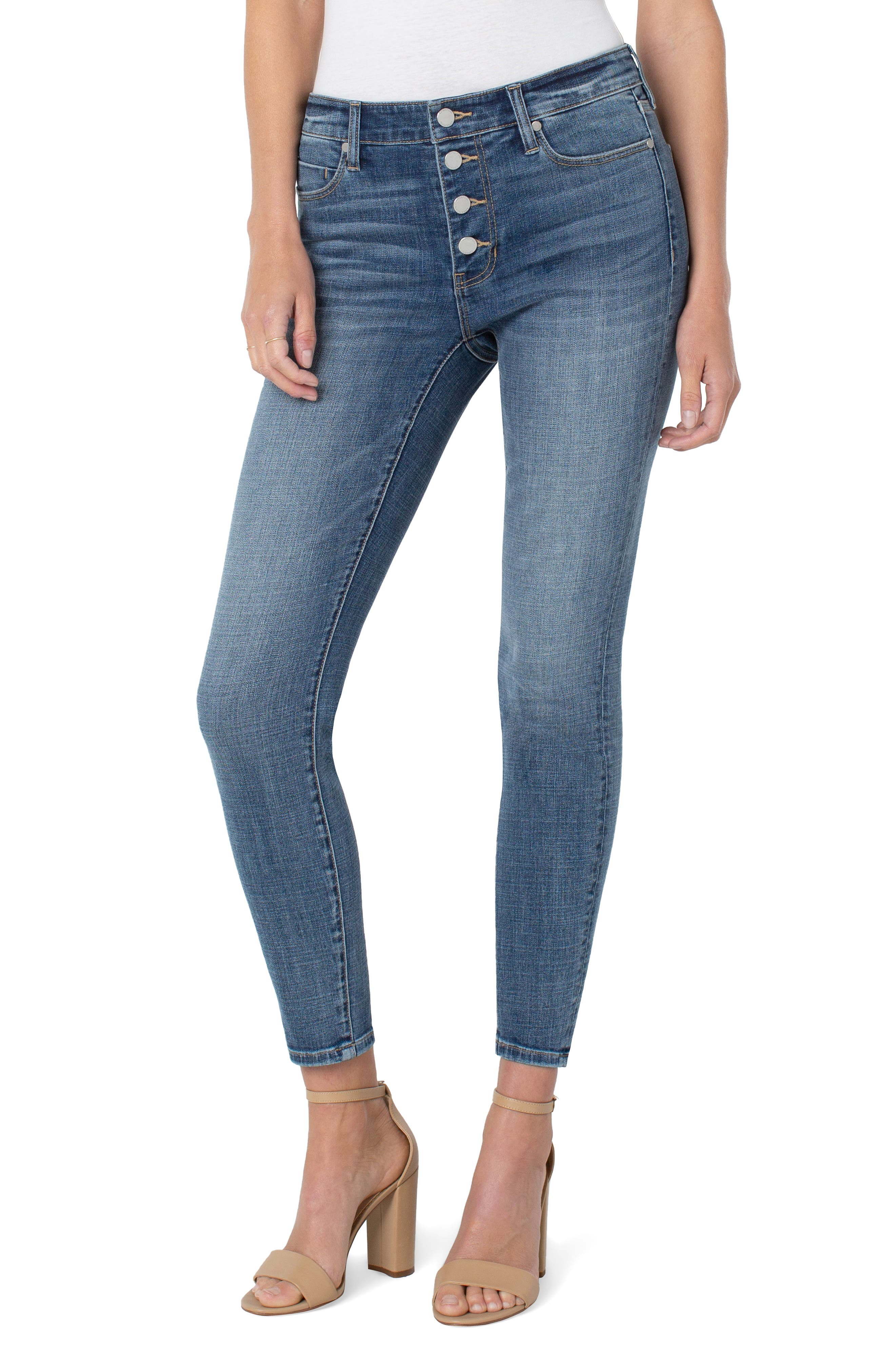 Abby Button Fly Ankle Skinny Jeans