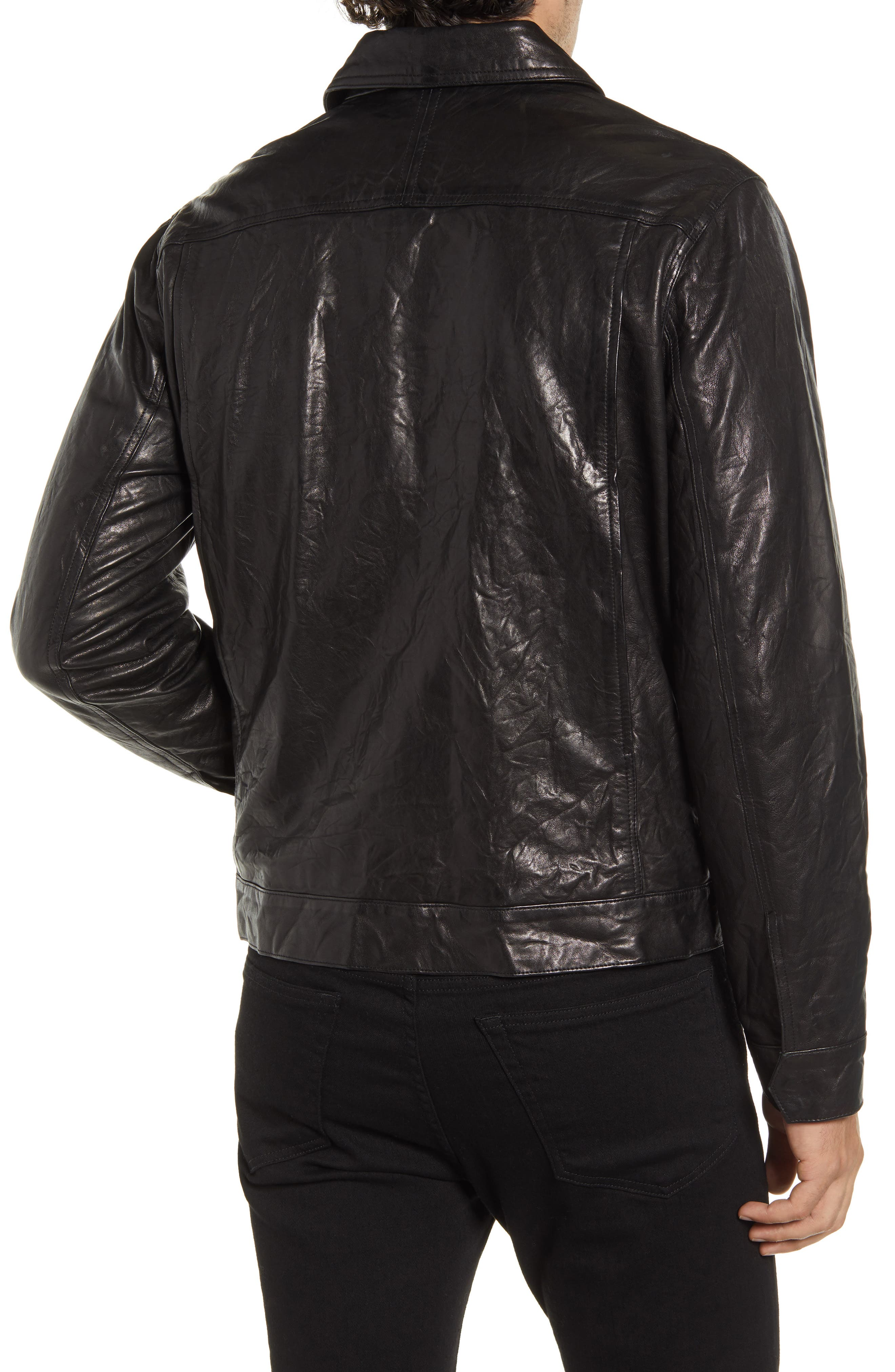 FRAME Classic Fit Leather Trucker Jacket