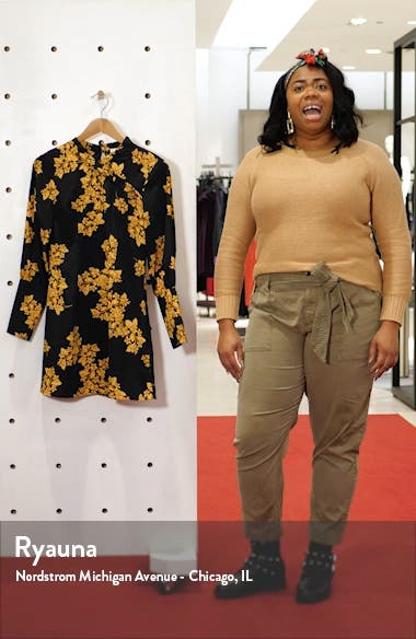 Floral Print Long Sleeve Minidress, sales video thumbnail
