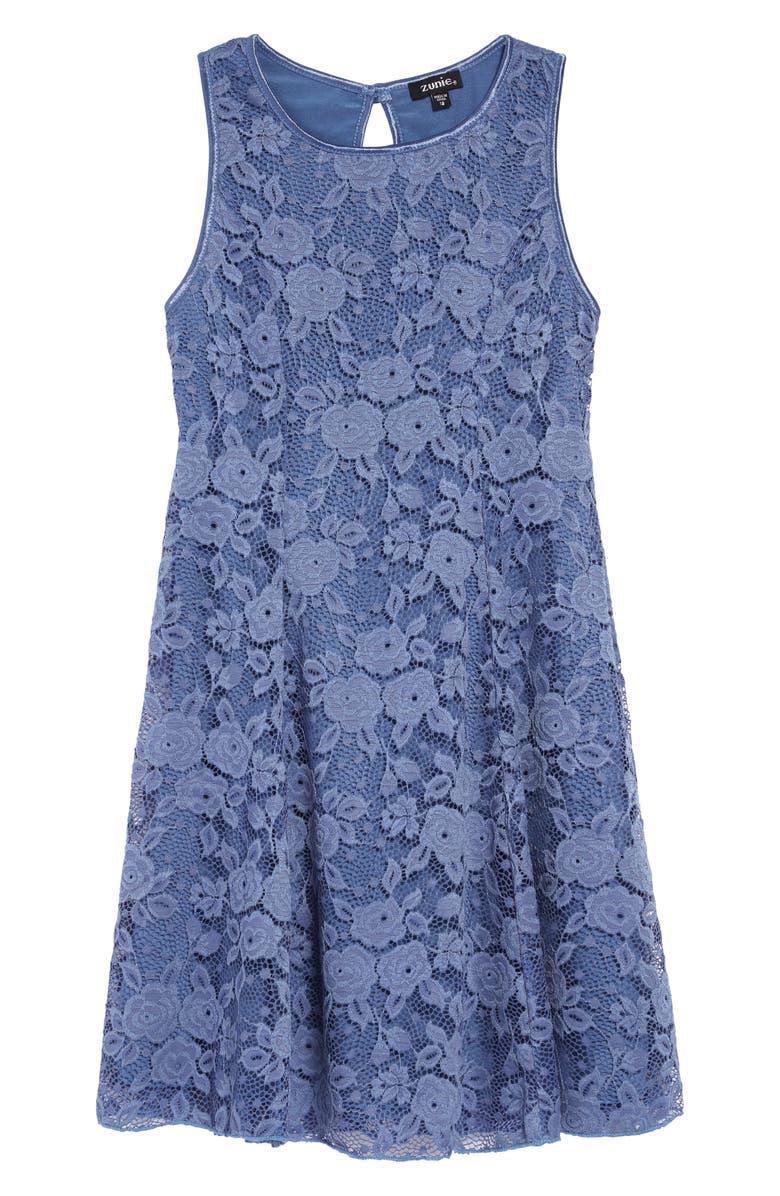 ZUNIE Lace Fit & Flare Dress, Main, color, 425