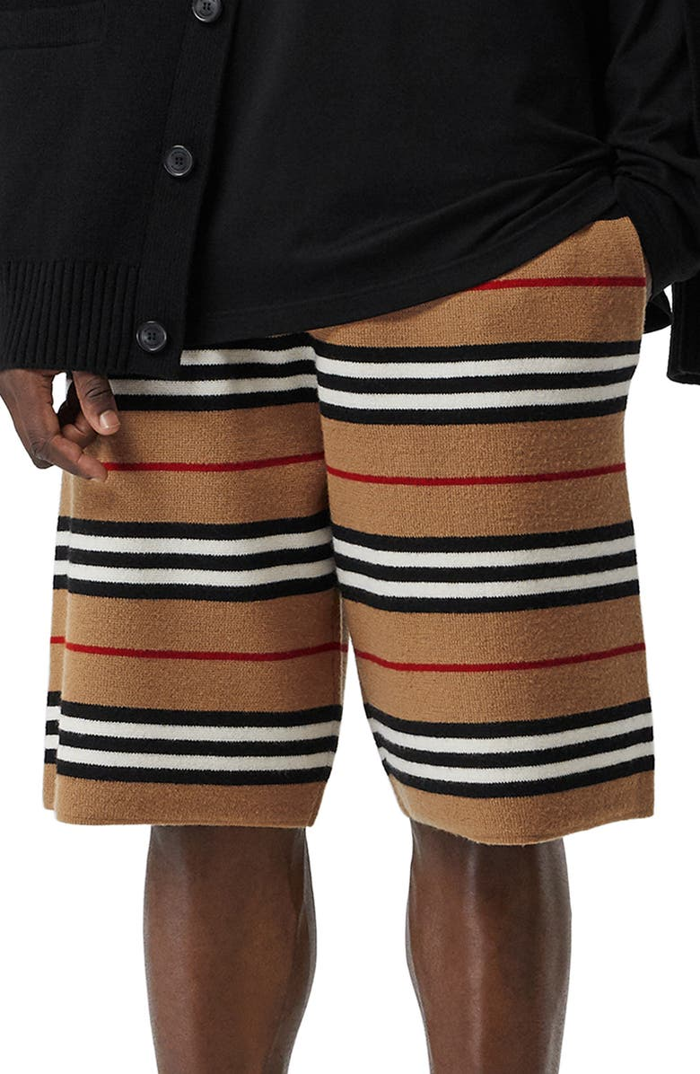 BURBERRY Icon Stripe Bermuda Knit Wool Shorts, Main, color, ARCHIVE BEIGE