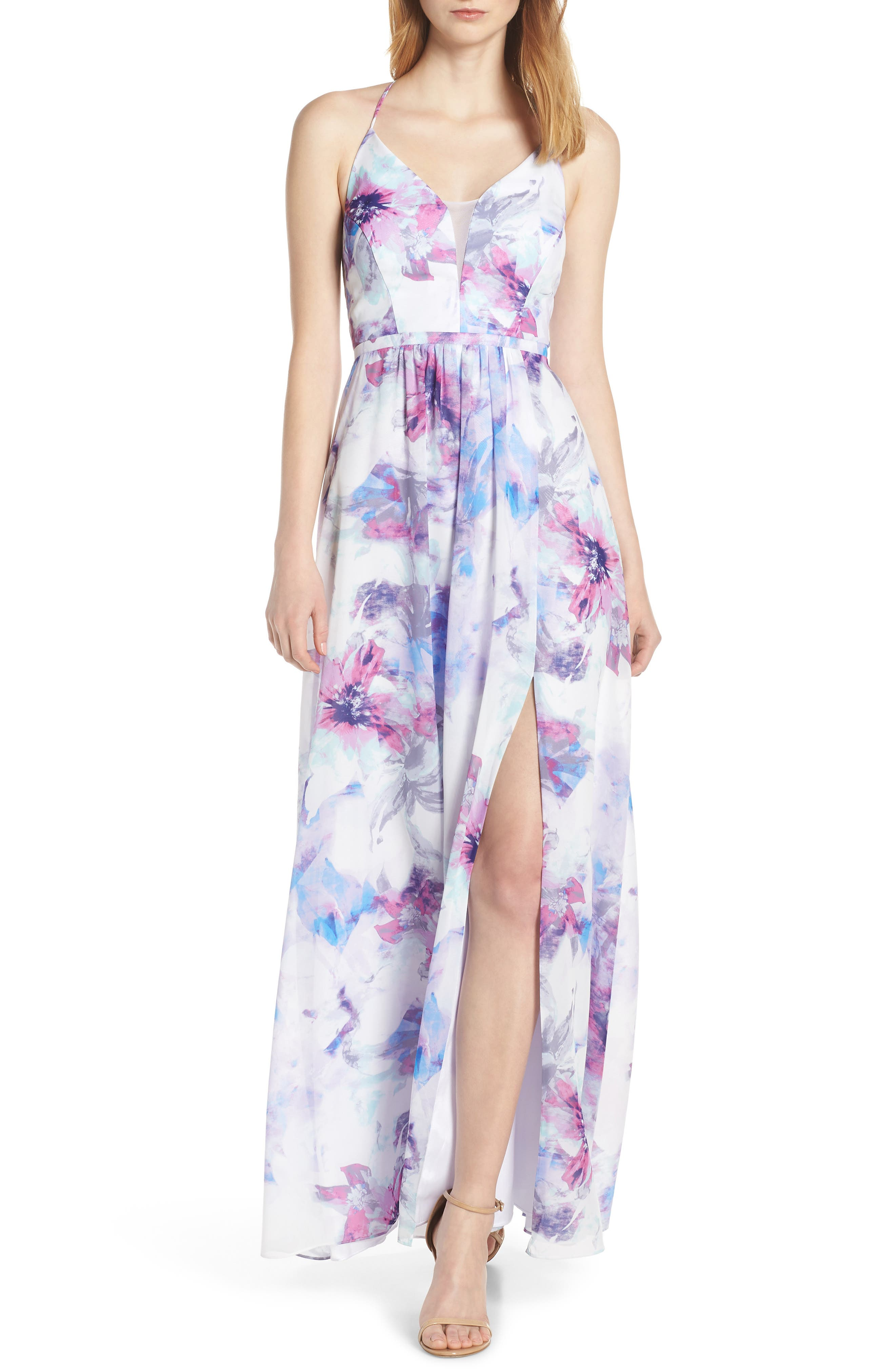 Morgan & Co. Floral Print Strappy Back Chiffon Evening Dress, Blue