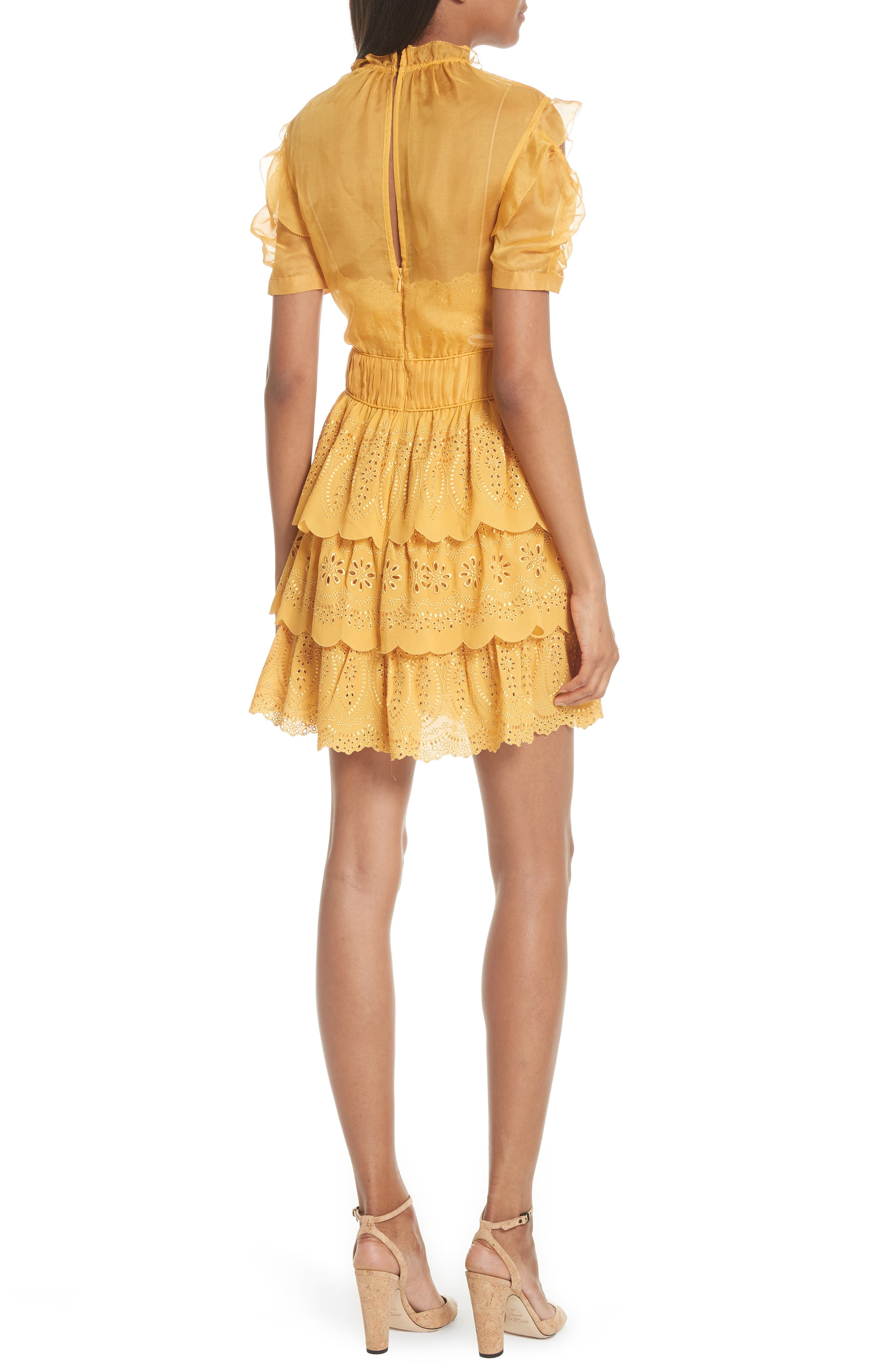,                             Chiffon & Broderie Anglaise Dress,                             Alternate thumbnail 2, color,                             700