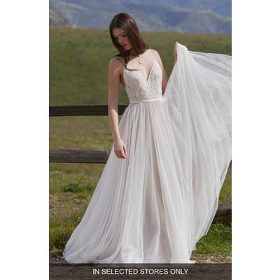 Willowby Harper Lace & Organza A-Line Wedding Dress, Size - Ivory