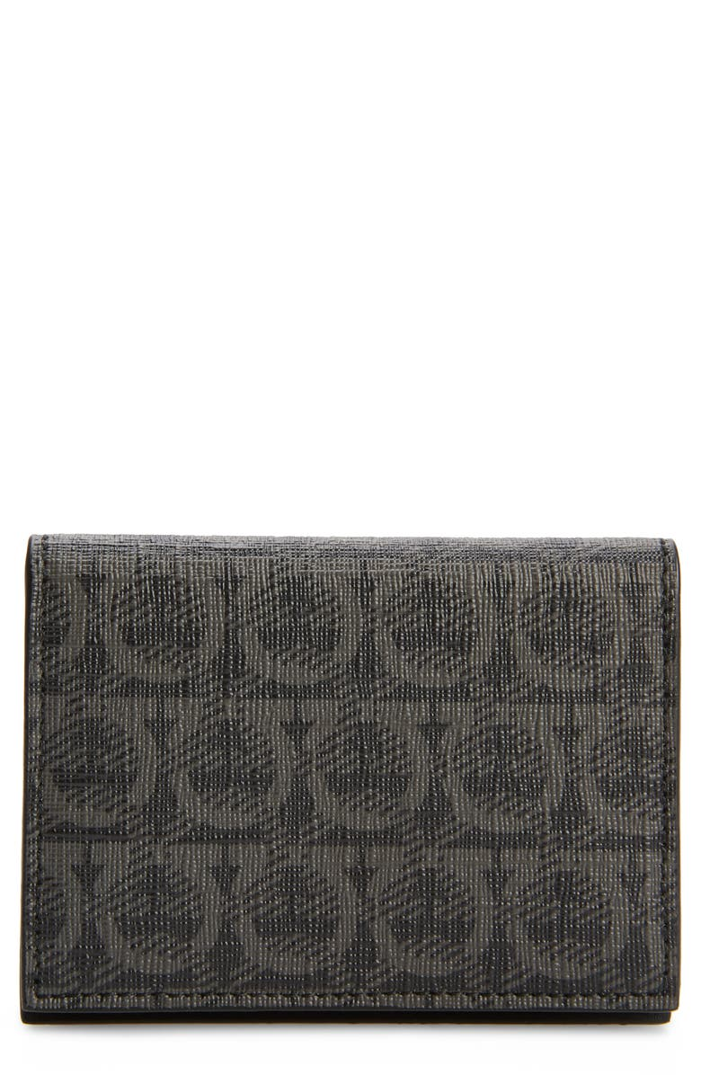 SALVATORE FERRAGAMO Salvatore Ferrgamo Gancio Logo Print Card Case, Main, color, BLACK/ GREY