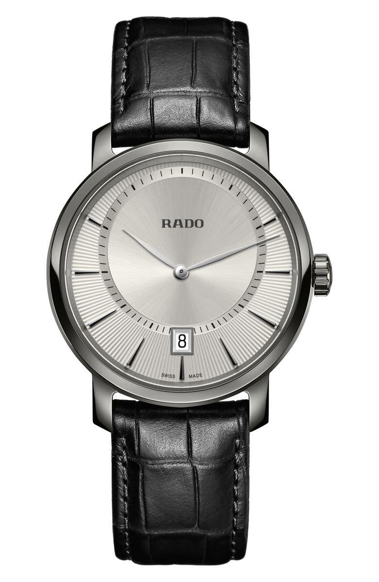 RADO DiaMaster Leather Strap Watch, 40mm, Main, color, 001