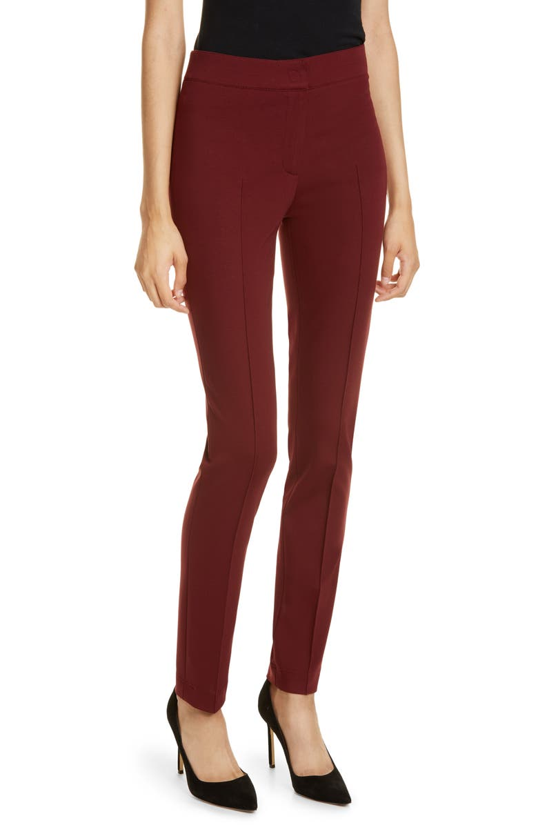 AKRIS PUNTO Mara Stretch Jersey Pants, Main, color, RUBY