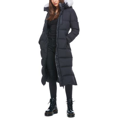 Moose Knuckles Fox Valley Genuine Fox Fur Trim Down Coat, Black