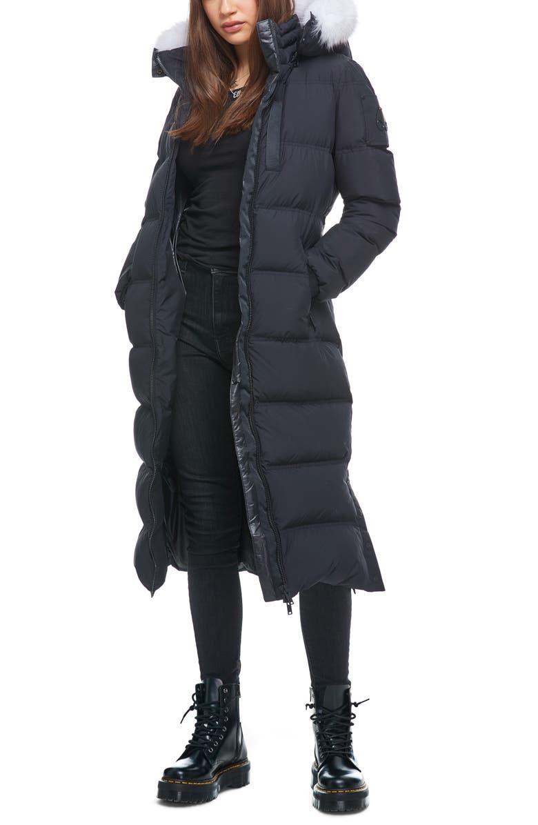 MOOSE KNUCKLES Fox Valley Genuine Fox Fur Trim Down Coat, Main, color, 002