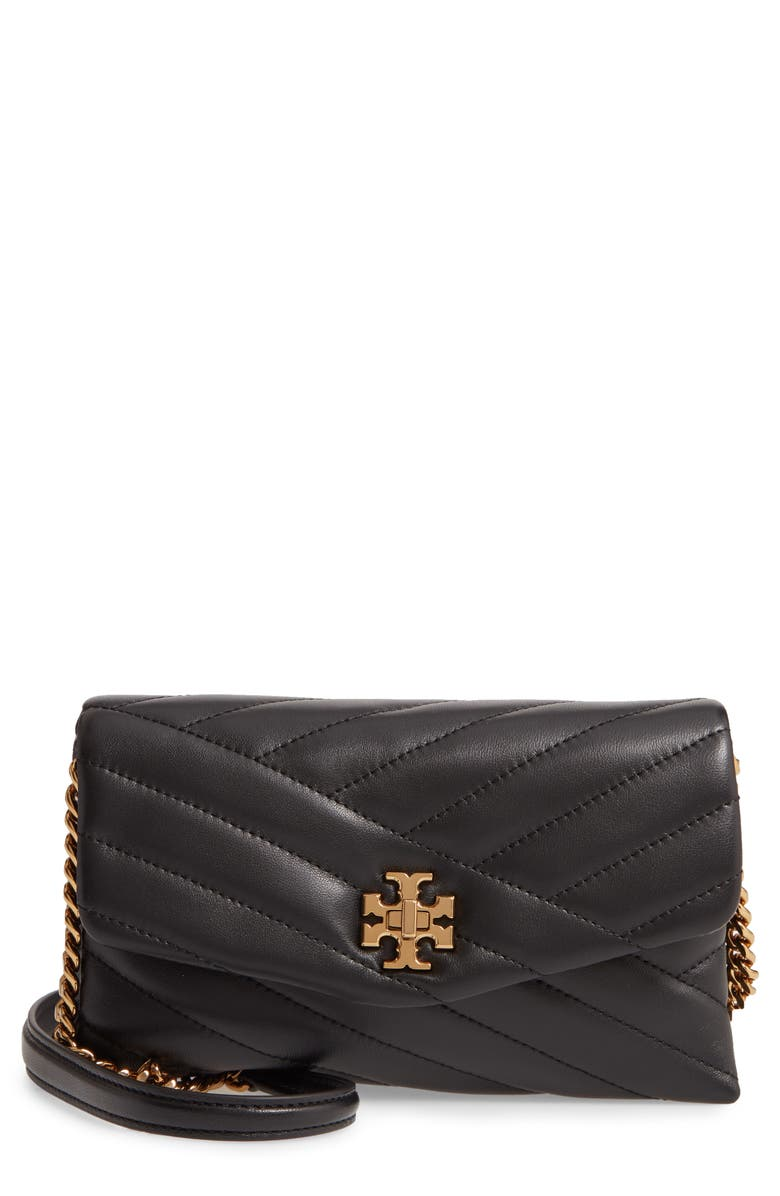 TORY BURCH Kira Chevron Quilted Leather Wallet on a Chain, Main, color, BLACK