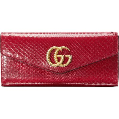Gucci Broadway Genuine Snakeskin Evening Clutch - Red
