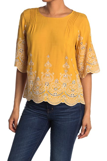 Image of MELLODAY Contrast Embroidered Bell Sleeve Blouse
