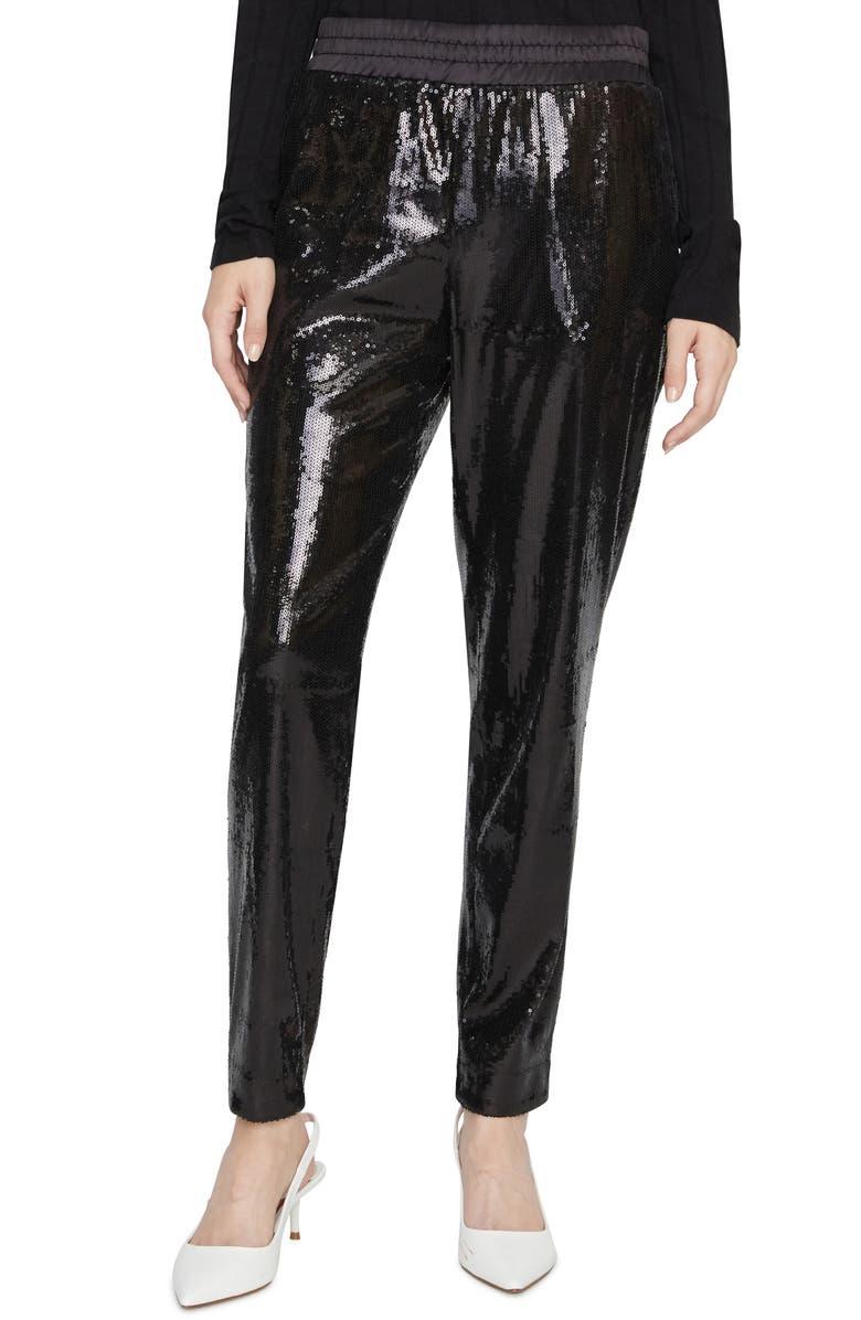SANCTUARY Night Fever Sequin Jogger Pants, Main, color, BLACK SEQUIN