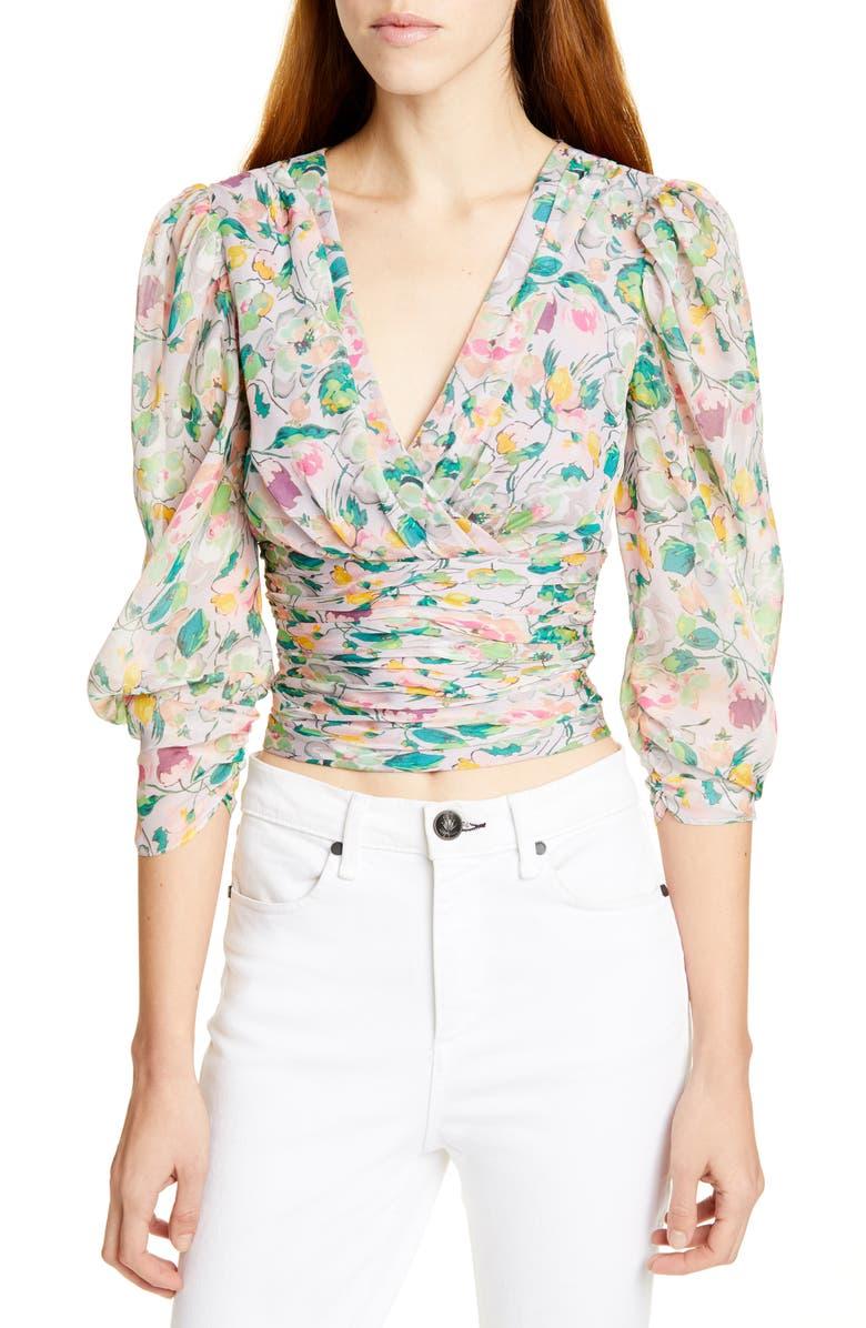 AMUR Auriel Floral Print Silk Top, Main, color, LILAC