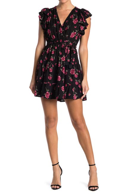 Image of Angie Floral Flutter Sleeve Mini Dress