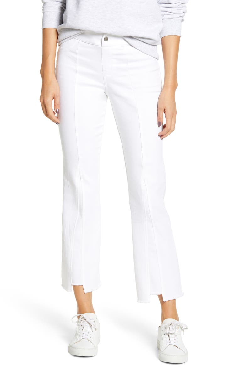 HUE Crop Flare Denim Pants, Main, color, WHITE