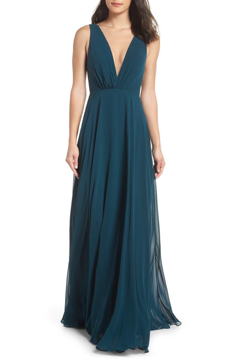 JENNY YOO Ryan Illusion Neck Chiffon Gown, Main, color, 404