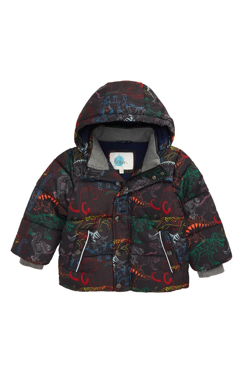 MINI BODEN Water Resistant Hooded Jacket, Main, color, CHARCOAL GREY DINOSAURS