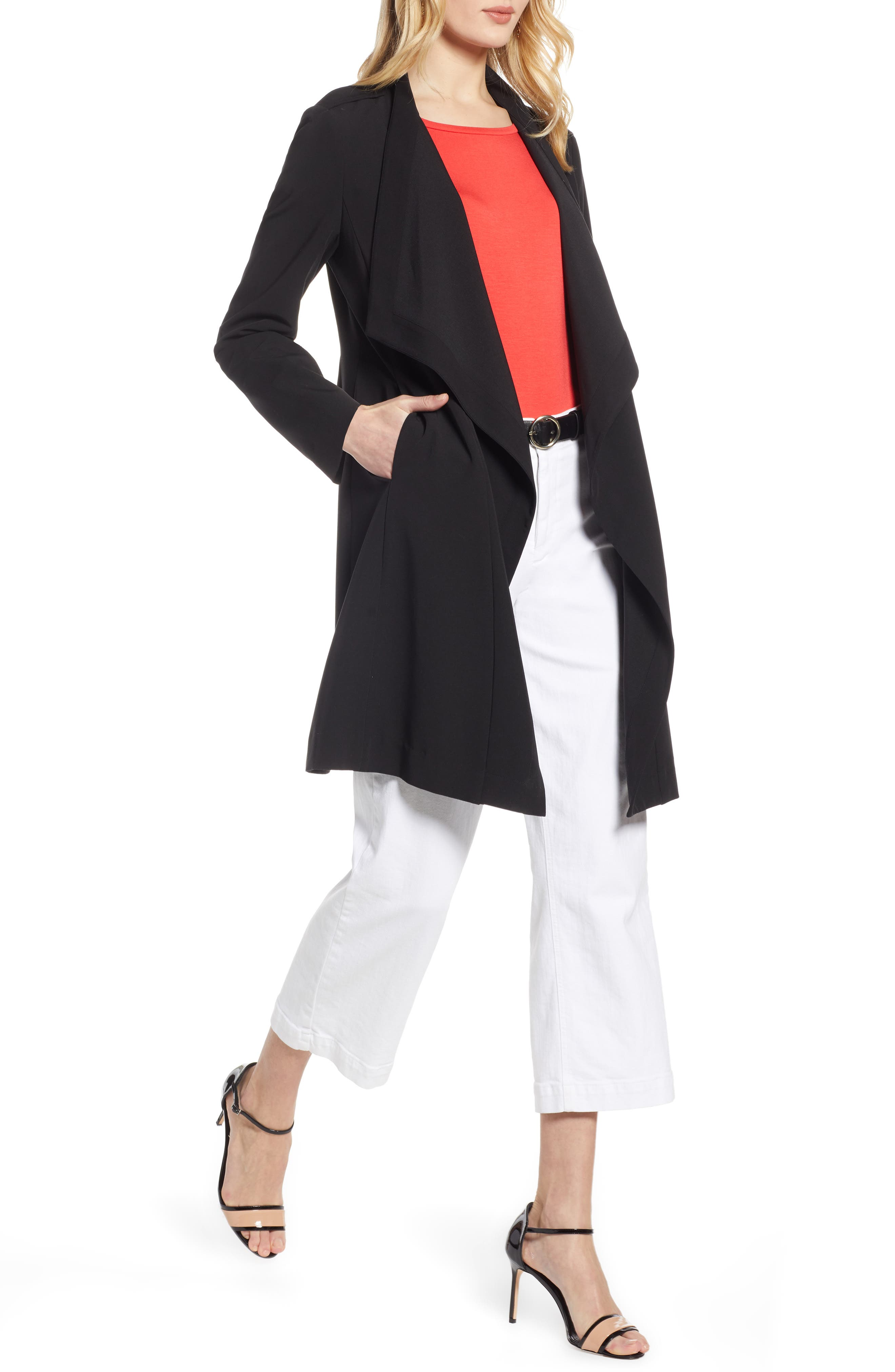 ,                             Drape Front Lightweight Jacket,                             Main thumbnail 1, color,                             BLACK