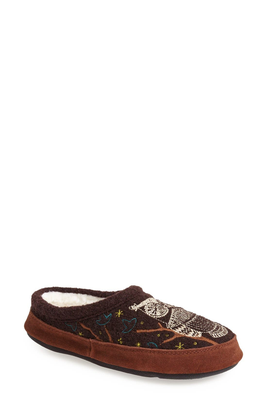 ,                             'Forest' Wool Mule Slipper,                             Main thumbnail 1, color,                             CHOCOLATE