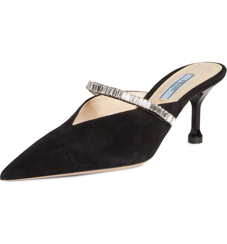 PRADA Crystal Embellished Pointy Toe Mule, Main, color, BLACK SUEDE