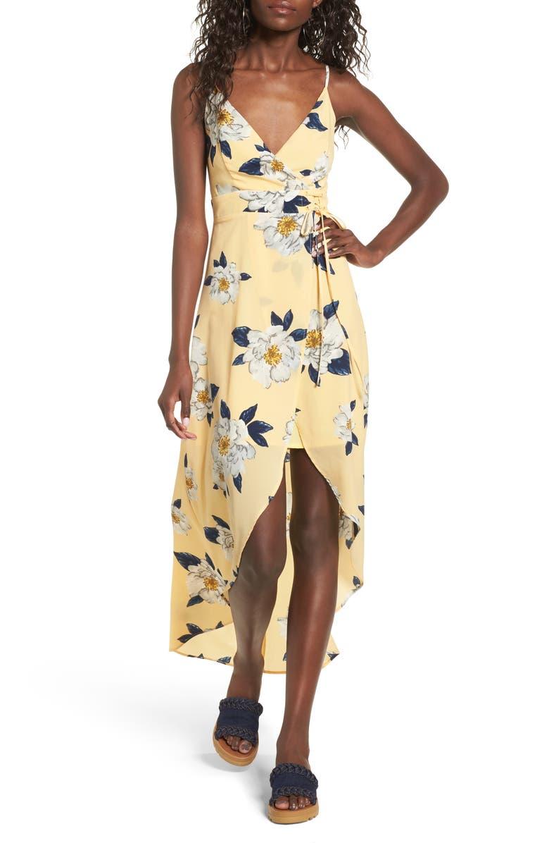 J.O.A. Floral Faux Wrap Slipdress, Main, color, 742