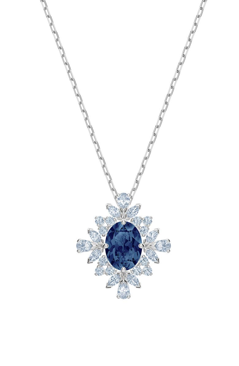 SWAROVSKI Swarovsk Palace Crystal Pendant Necklace, Main, color, BLUE/ SILVER