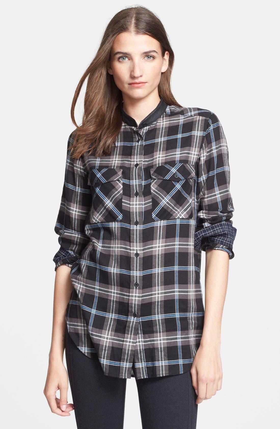 ,                             Leather Trim Plaid Long Sleeve Shirt,                             Main thumbnail 1, color,                             001