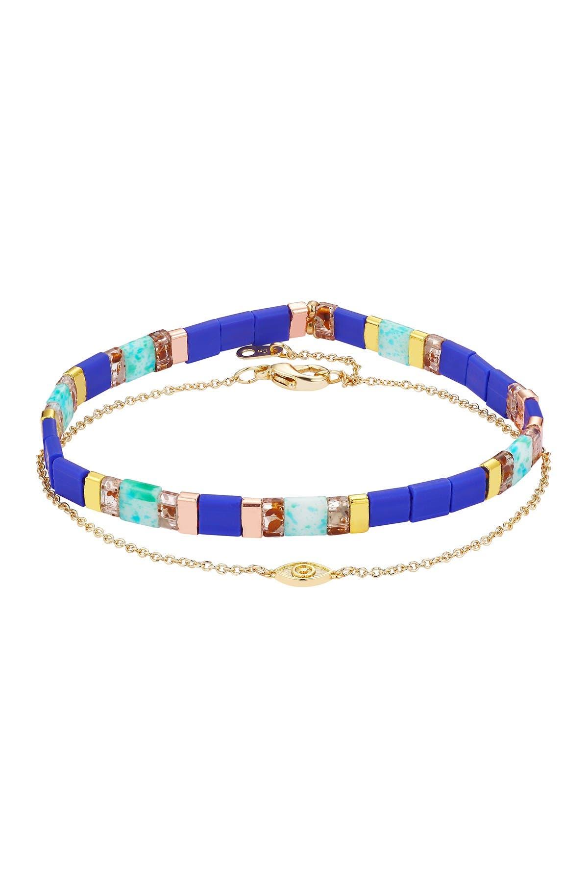 Image of LA Rocks Beaded Stretch Bracelet & Evil Eye Bracelet Set