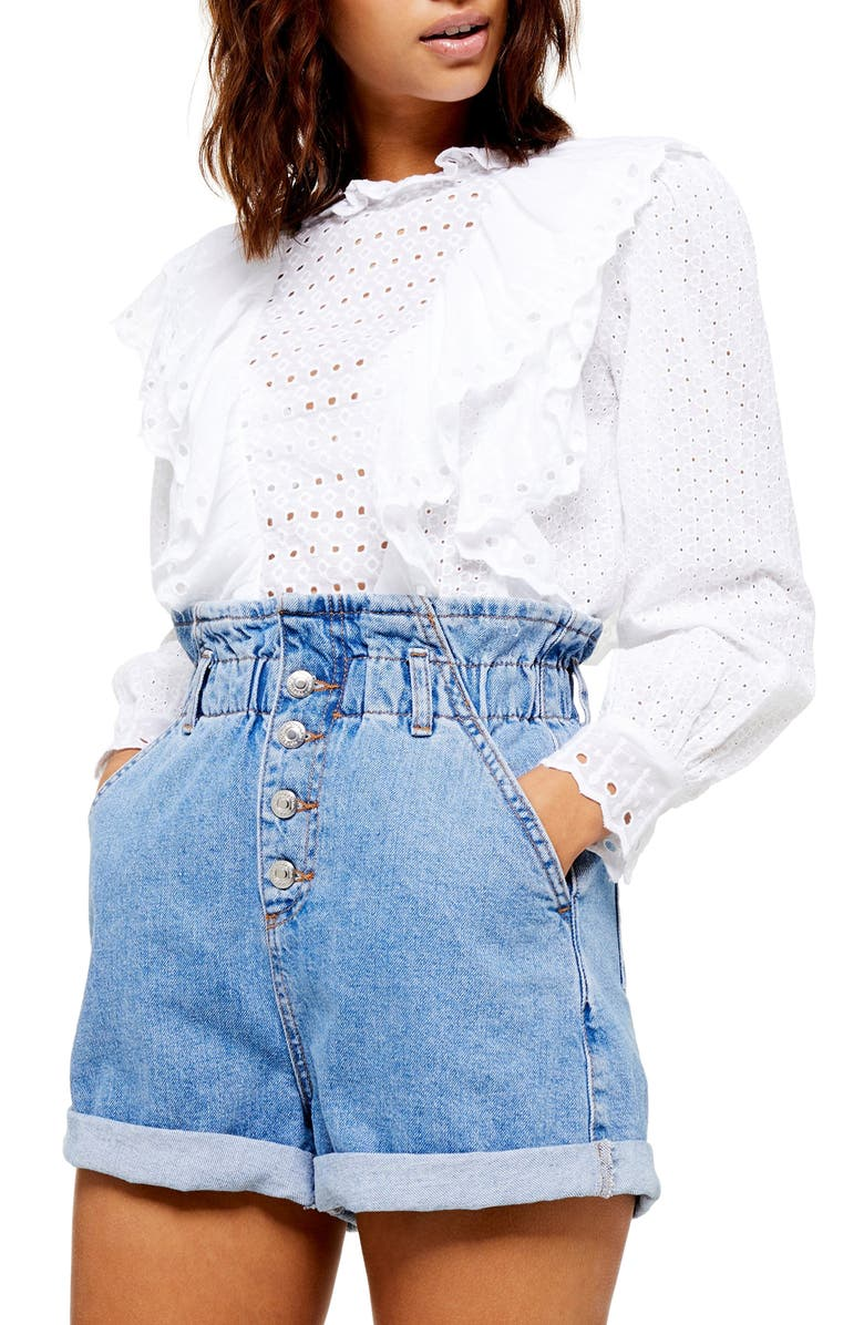 TOPSHOP Ruffle Long Sleeve Broderie Anglaise Top, Main, color, WHITE