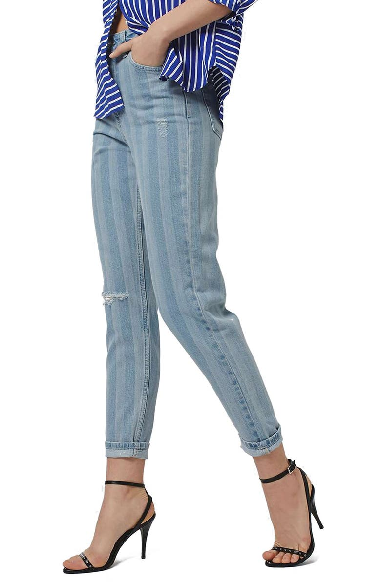 TOPSHOP Ripped Stripe Mom Jeans, Main, color, 400