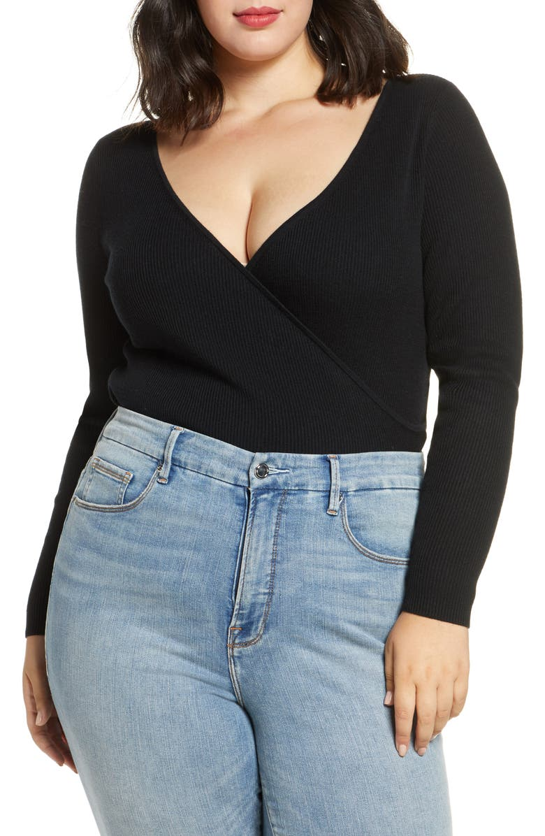 LEITH Ribbed Wrap Front Sweater, Main, color, BLACK