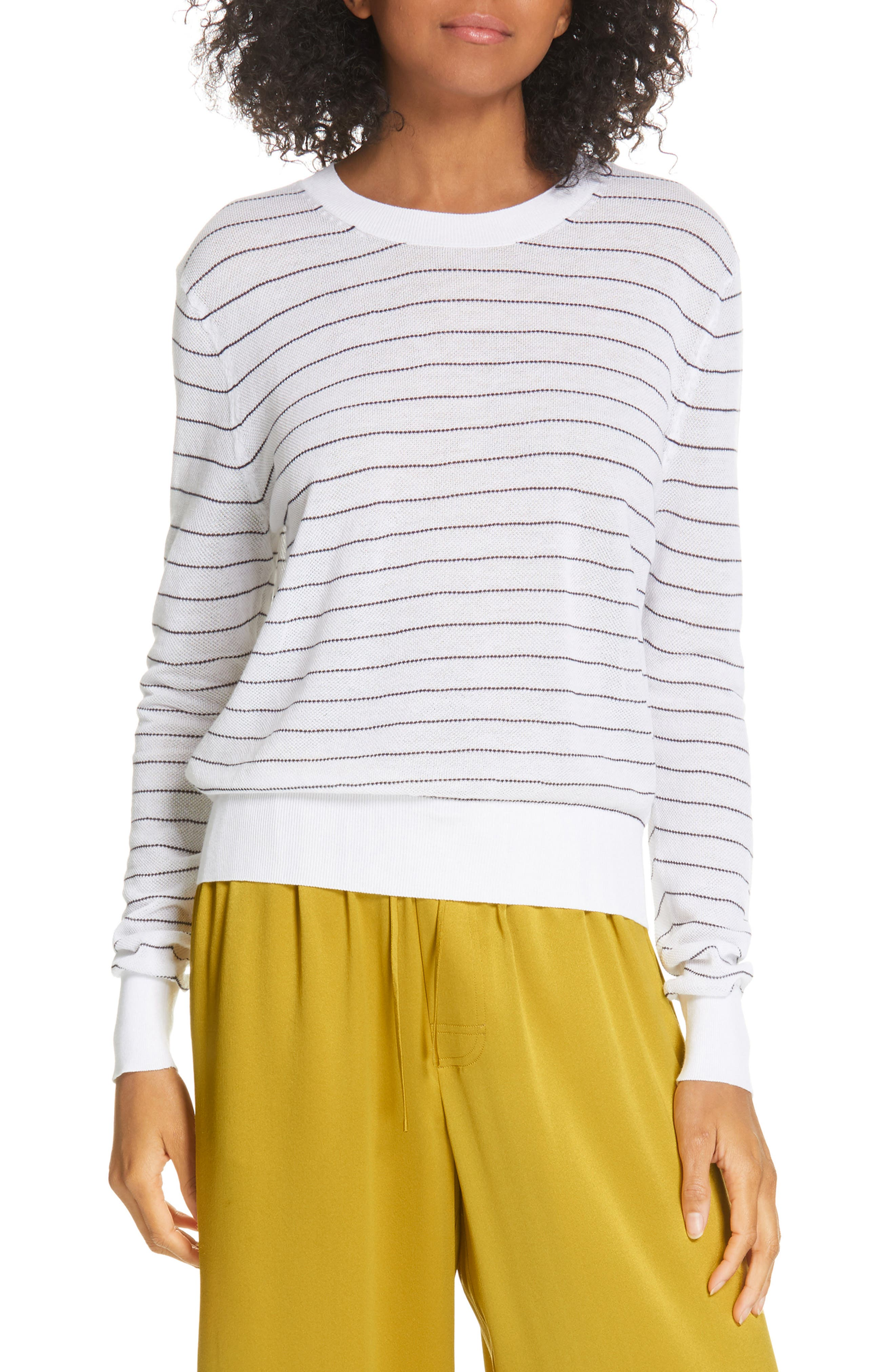 Stripe Long Sleeve Texture Knit Top, Main, color, OPTIC WHITE/ NAVY